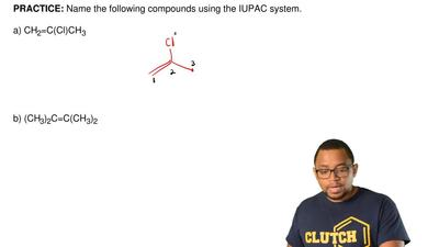 Name the following compounds using the IUPAC system.   a) CH2=C(Cl)CH3        ...