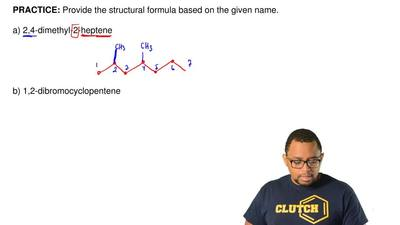Provide the structural formula based on the given name.   a) 2,4-dimethyl-2-he...