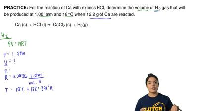 For the reaction of Ca with excess HCI, determine the volume of H 2 gas that ...