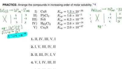 Arrange the compounds in increasing order of molar solubility. ...