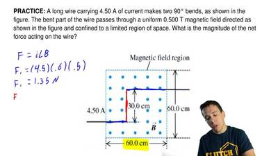 A long wire carrying 4.50 A of current makes two 90° bends, as shown in the fi...