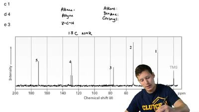 Which line in the following spectrum would indicate the presence of a carbonyl...