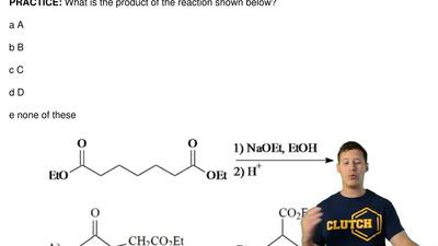 What is the product of the reaction shown below?  a A   b B   c C   d D  e non...