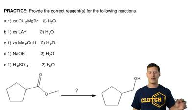 Provde the correct reagent(s) for the following reactions  a 1) xs CH3MgBr  ...