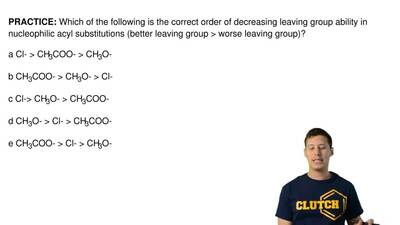 Which of the following is the correct order of decreasing leaving group abilit...