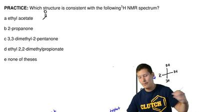 Which structure is consistent with the following 1H NMR spectrum?  a ethyl ace...