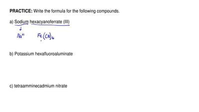 Write the formula for the following compounds.   a) Sodium hexacyanoferrate (I...