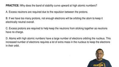 Why does the band of stability curve upward at high atomic numbers?  A. Excess...