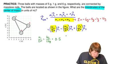 Three balls with masses of 5 g, 1 g, and 6 g, respectively, are connected by m...