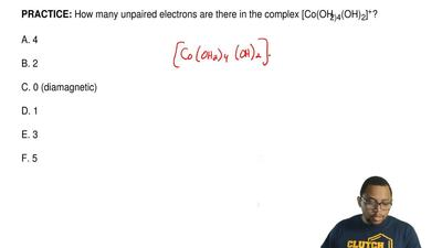 How many unpaired electrons are there in the complex [Co(OH2)4(OH)2]+?  A. 4  ...