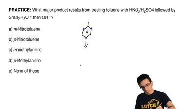 What major product results from treating toluene with HNO3/H2SO4 followed by ...