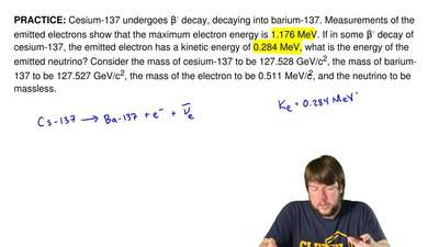 Cesium-137 undergoes β- decay, decaying into barium-137. Measurements of the e...