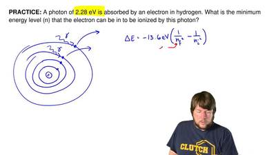 A photon of 2.28 eV is absorbed by an electron in hydrogen. What is the minimu...