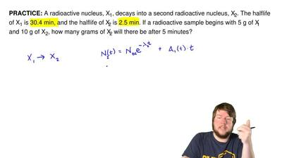 A radioactive nucleus, X1, decays into a second radioactive nucleus, X 2. The ...