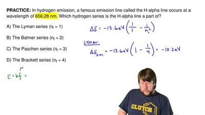 In hydrogen emission, a famous emission line called the H-alpha line occurs at...