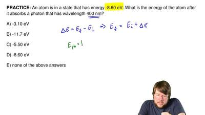 An atom is in a state that has energy -8.60 eV. What is the energy of the atom...