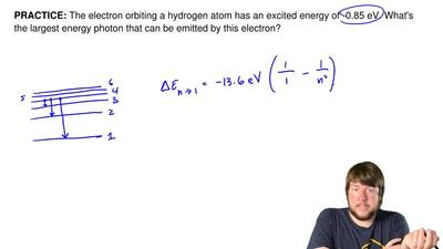 The electron orbiting a hydrogen atom has an excited energy of -0.85 eV. What'...