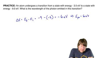 An atom undergoes a transition from a state with energy - 3.0 eV to a state wi...