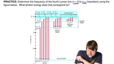 Determine the frequency of the fourth Lyman line (n = 5 to n = 1transition) us...