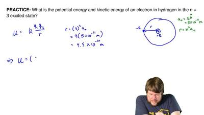 What is the potential energy and kinetic energy of an electron in hydrogen in ...