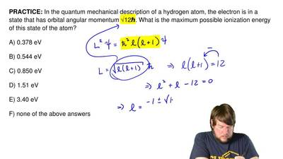 In the quantum mechanical description of a hydrogen atom, the electron is in a...