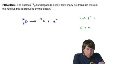 The nucleus 198O undergoes β- decay. How many neutrons are there in the nucleu...