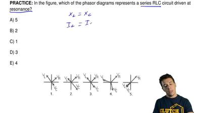 In the figure, which of the phasor diagrams represents a series RLC circuit dr...