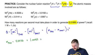 Consider the nuclear fusion reaction 31H + 21H → 42He + 10n. The atomic masses...