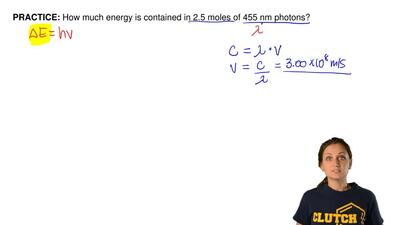 How much energy is contained in 2.5 moles of 455 nm photons? ...