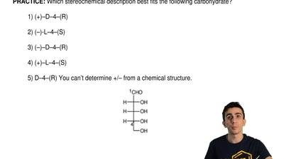 Which stereochemical description best fits the following carbohydrate?  1) (+)...
