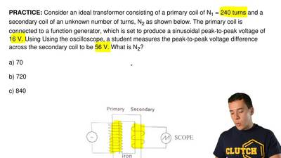 Consider an ideal transformer consisting of a primary coil of N 1 = 240 turns ...
