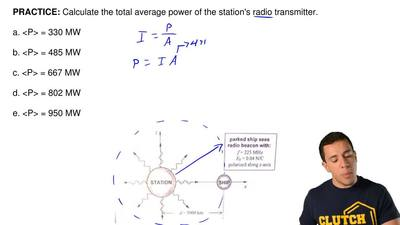 Calculate the total average power of the station's radio transmitter.  a. <...