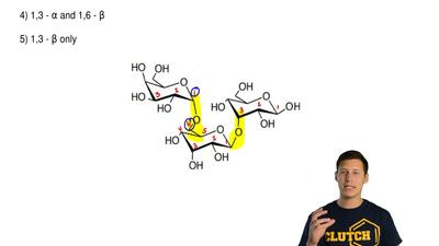 Which sugar linkage(s) is (are) present in this trisaccharide?  1) 1,4 - α and...