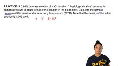 "A 0.86% by mass solution of NaCl is called ""physiological saline"" because its ..."