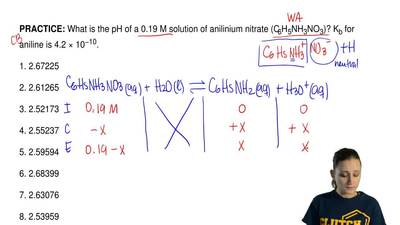 What is the pH of a 0.19 M solution of anilinium nitrate (C  6H5NH3NO3)? Kb fo...