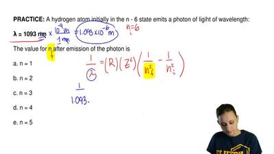 A hydrogen atom initially in the n - 6 state emits a photon of ligiht of wavel...