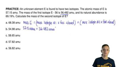 An unknown element E is found to have two isotopes. The atomic mass of E is 57...