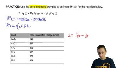 Use the bond energies provided to estimate H°rxn for the reaction below.   2 B...