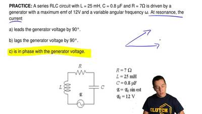 A series RLC circuit with L = 25 mH, C = 0.8 μF and R = 7Ω is driven by a gene...