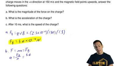 A 2.5 μC charge with a mass of 250 μgenters a uniform, 1.5 T magnetic field....
