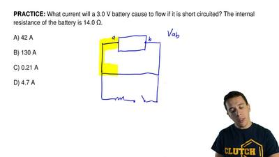 What current will a 3.0 V battery cause to flow if it is short circuited? The ...