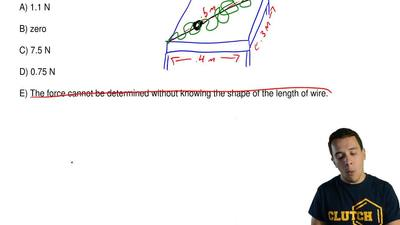 A 5 meter length of wire carrying a current of 5 A lies on a horizontal table ...
