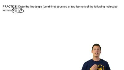 Draw the line-angle (bond-line) structure of two isomers of the following mole...