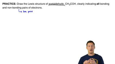 Draw the Lewis structure of acetaldehyde, CH3COH, clearly indicating all bond...