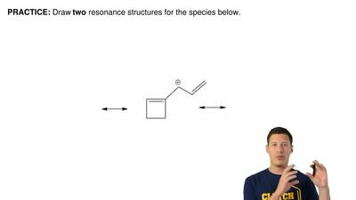 Draw two resonance structures for the species below.       ...