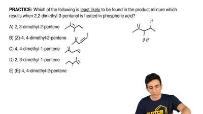 Which of the following is  least likely to be found in the product mixture whi...