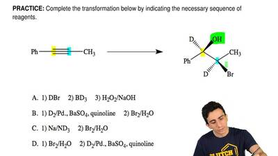 Complete the transformation below by indicating the necessary sequence of reag...