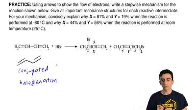 Using arrows to show the flow of electrons, write a stepwise mechanism for the...