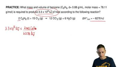 What mass and volume of benzene (C6H6, d= 0.88 g/mL, molar mass = 78.11 g/mol)...