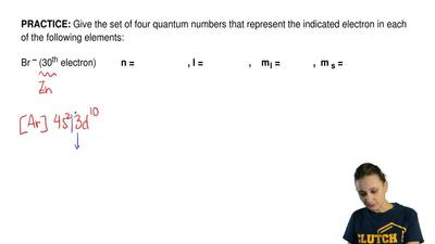 Give the set of four quantum numbers that represent the indicated electron in ...